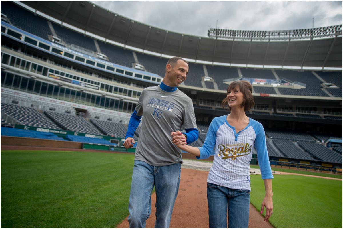 Kauffman Stadium Engagement Session | Kansas City Wedding Photographers