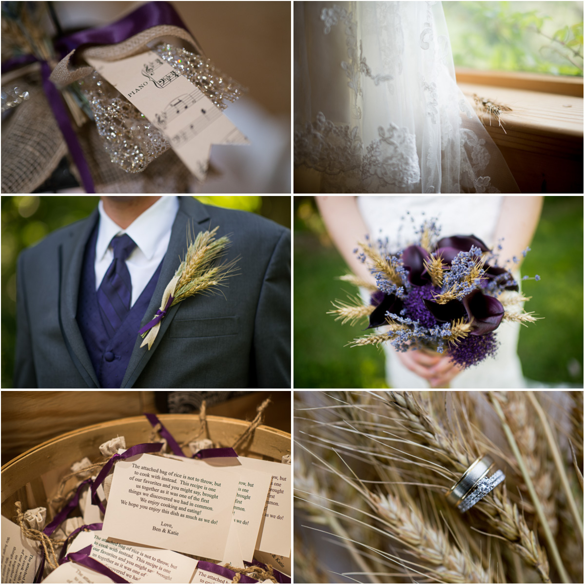 Wedding Inspiration Wedding Brand Purple and Wheat Inspired Wedding