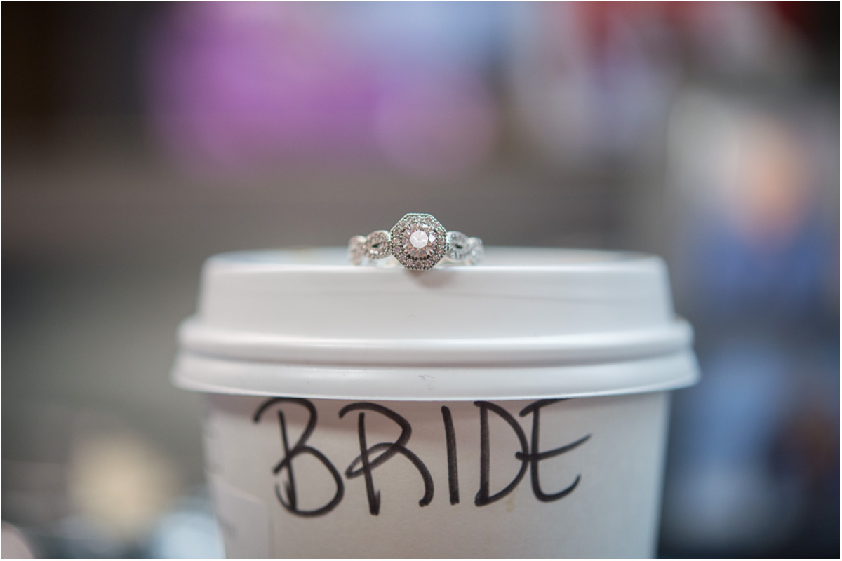 bride starbucks cup engagement ring Seattle Wedding Photographers Salt and Pine Photography