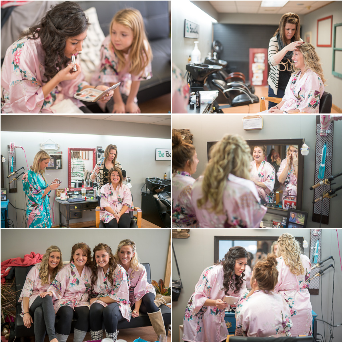 bridesmaids hair and make up Seattle Wedding Photographers Salt and Pine Photography