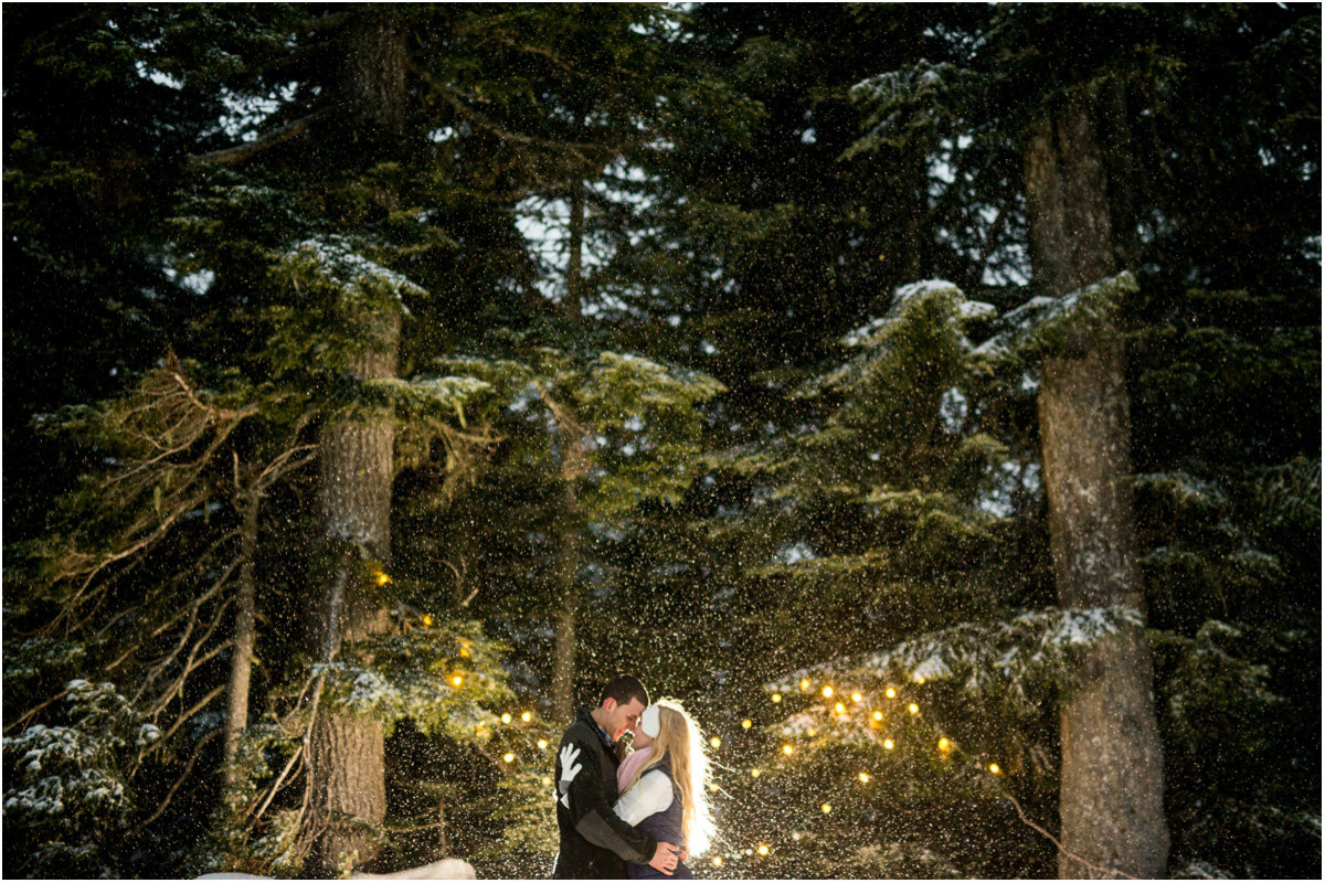 dramatic lighting woodsy winter engagement in snow Seattle Washington Wedding Photographers Salt and Pine
