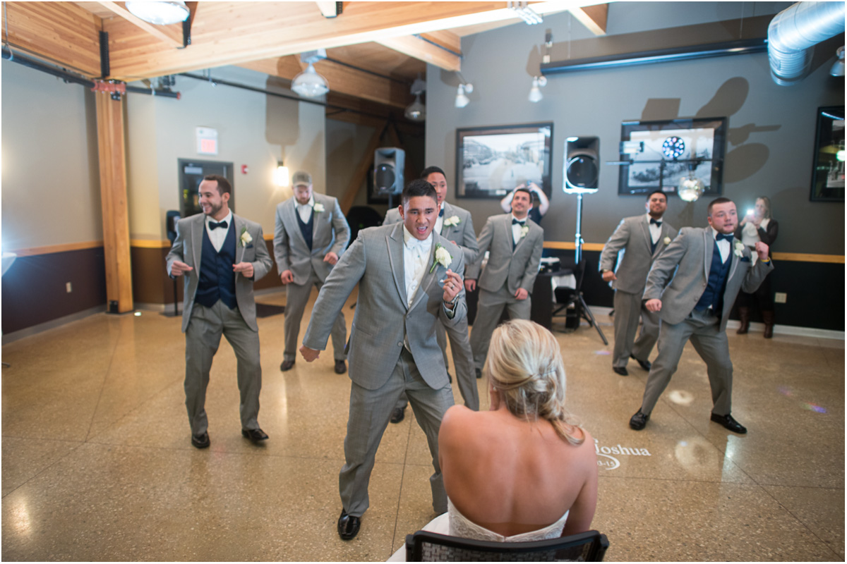 groom groomsmen suprise dance Seattle Wedding Photographers Salt and Pine Photography