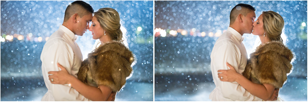 new year winter wedding bride groom in snow Seattle Wedding Photographers Salt and Pine Photography