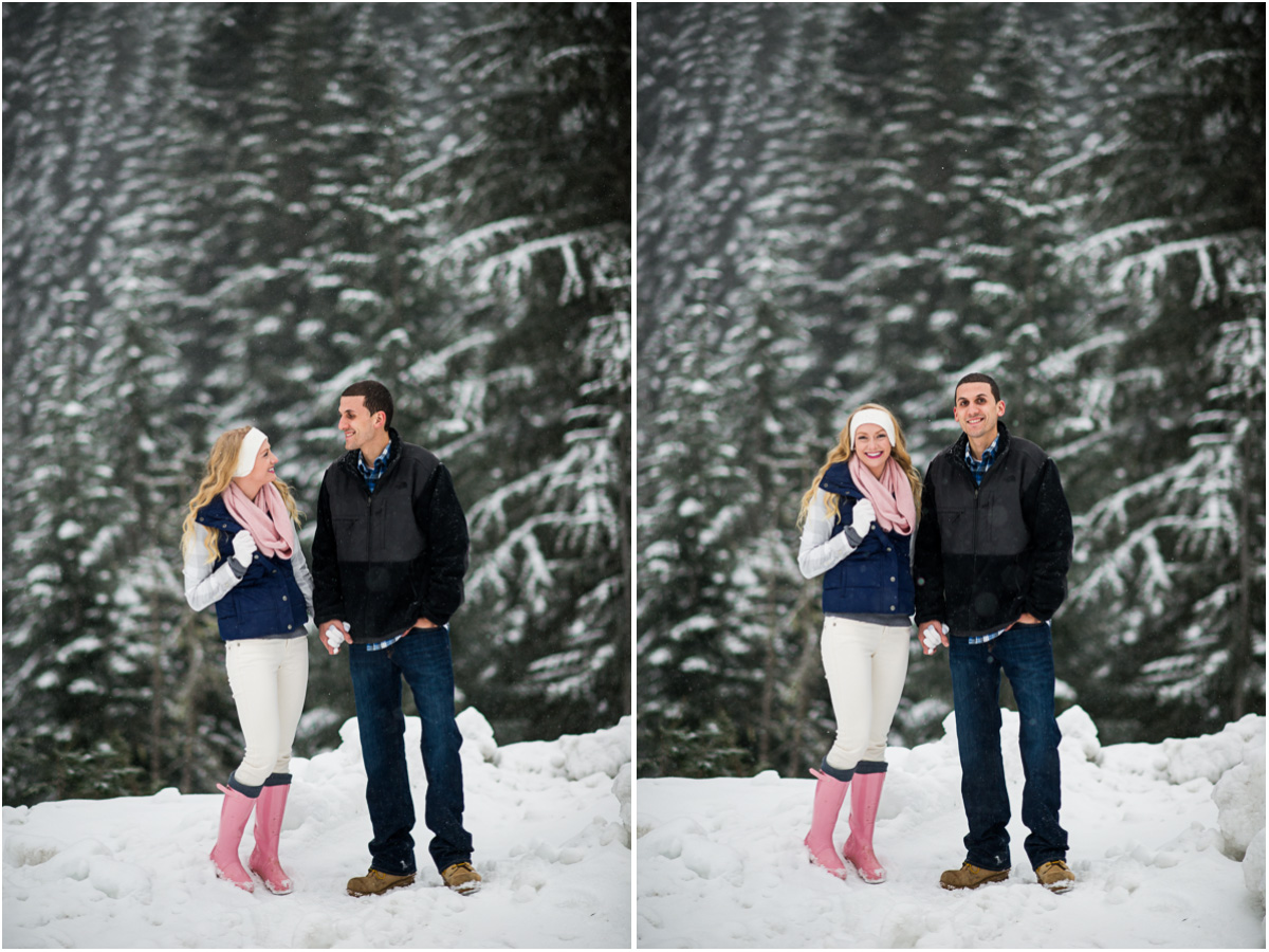 snowy winter engagement session alpental Washington Wedding Photographer Salt and Pine Photography