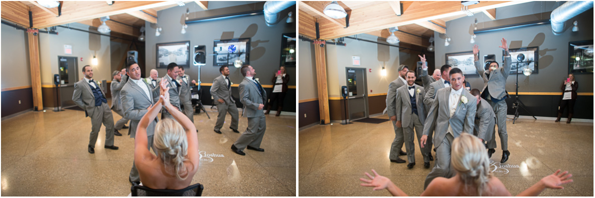 surprise dancing groomsmen at reception