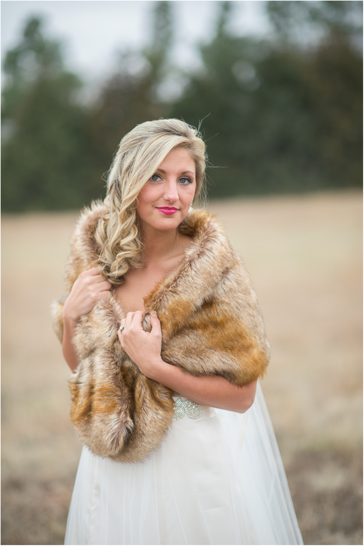 winter bride fur wrap Seattle Wedding Photographers Salt and Pine Photography