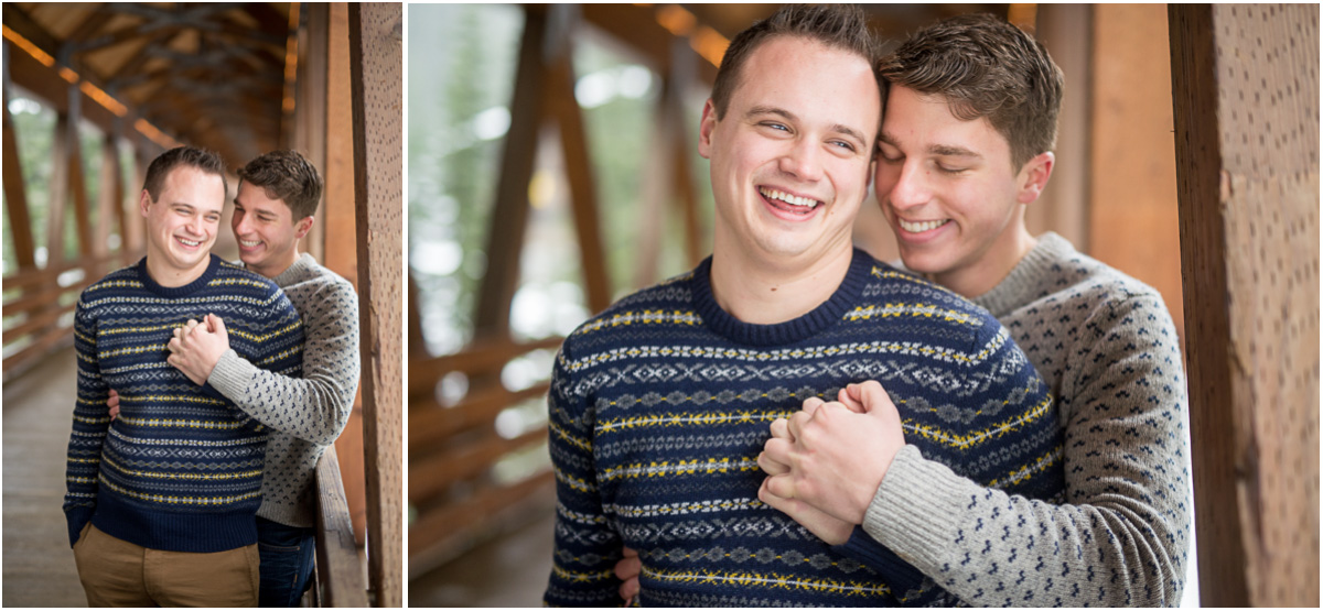 winter sweaters same sex engagement session inspiration Seattle Wedding Photographers Salt and Pine Photography
