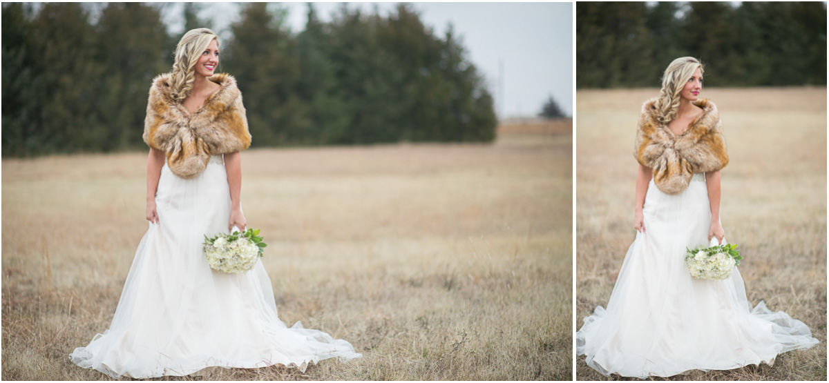 winter wedding inspiration bridal fur wrap Seattle Wedding Photographers Salt and Pine Photography