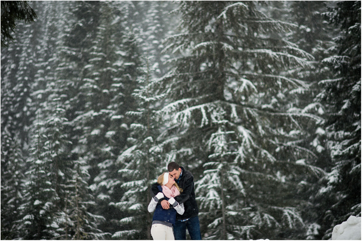 woodsy winter seattle engagement photo Seattle Wedding Photographer Salt and Pine Photography