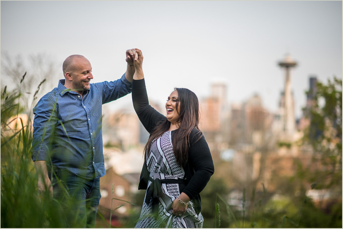 Couple Dancing in Kerry Park Engagement Session