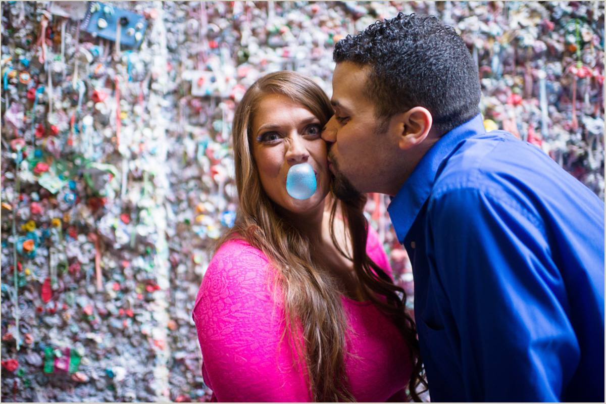 Fun Engagement Photos at the Seattle Gum Wall