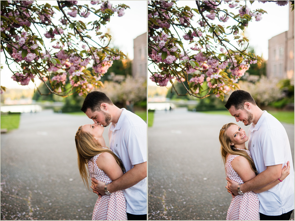 Seattle Cherry Blossom Spring Engagement