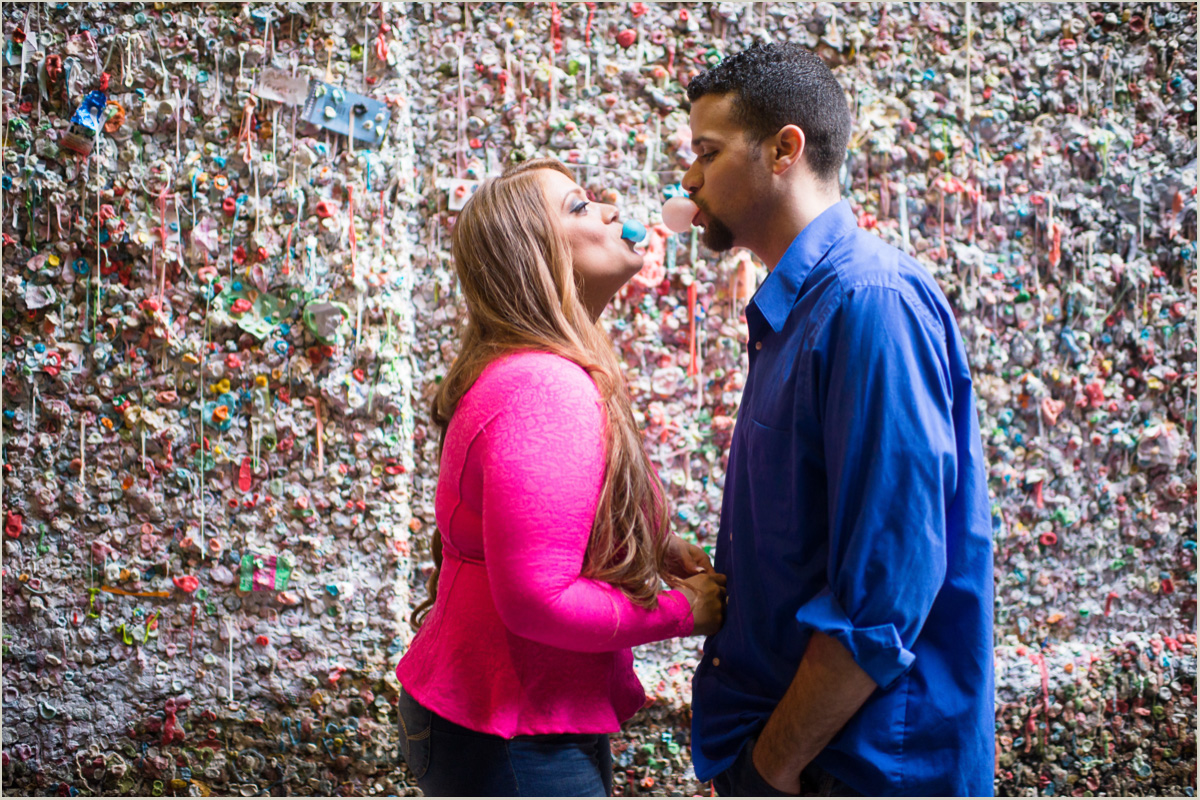 Seattle Gum Wall Engagement Photos