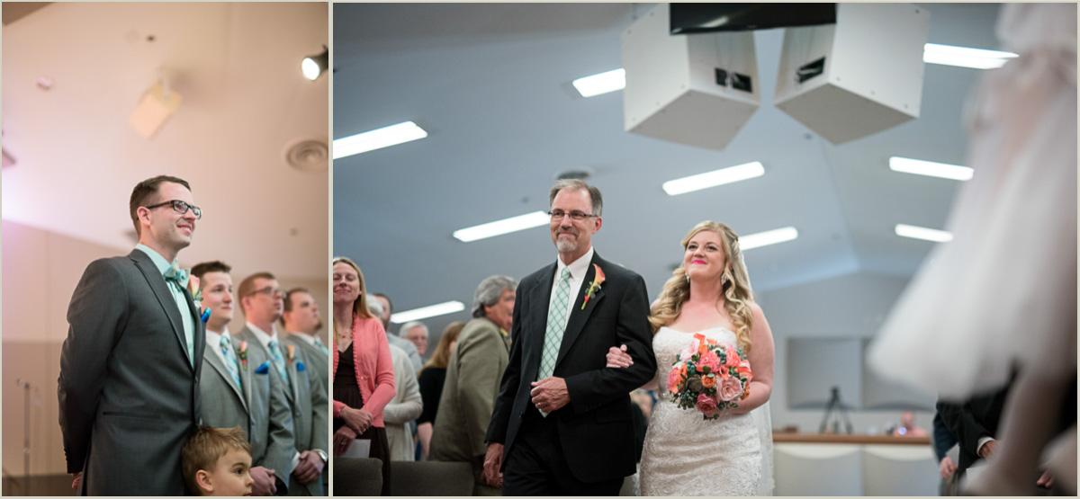 bride walking down aisle manhattan kansas spring wedding