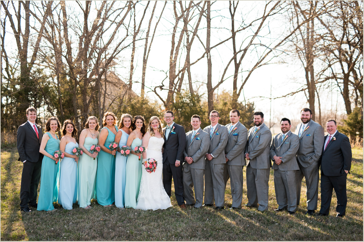 bright spring wedding bridal party