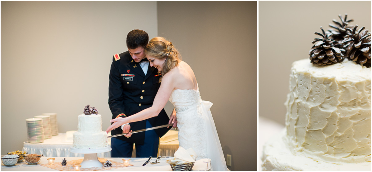 cake cutting with saber military wedding
