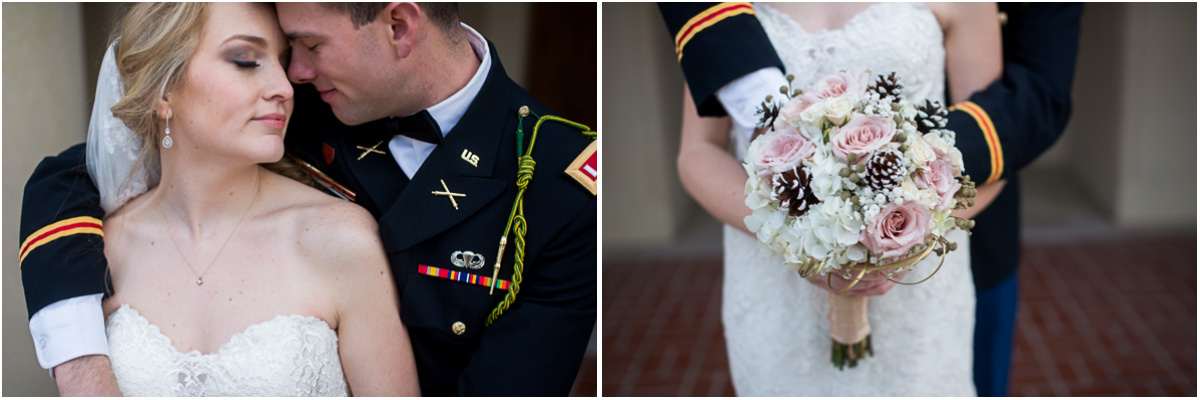 military bride and groom winter wedding