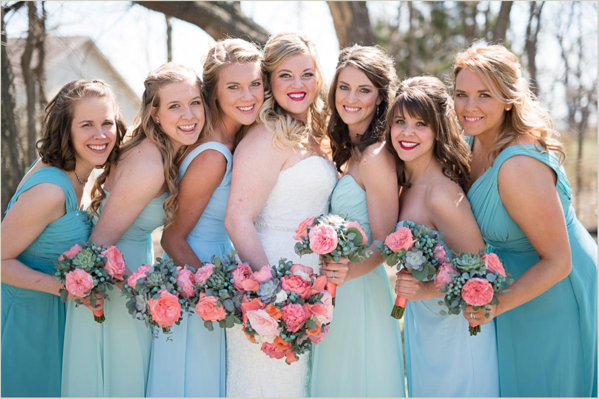 ombre bridesmaids dresses outdoor spring wedding