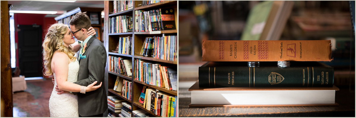 vintage bride and groom photos in bookstore