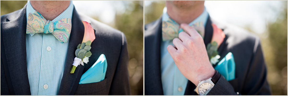 vintage wedding groom wearing bowtie