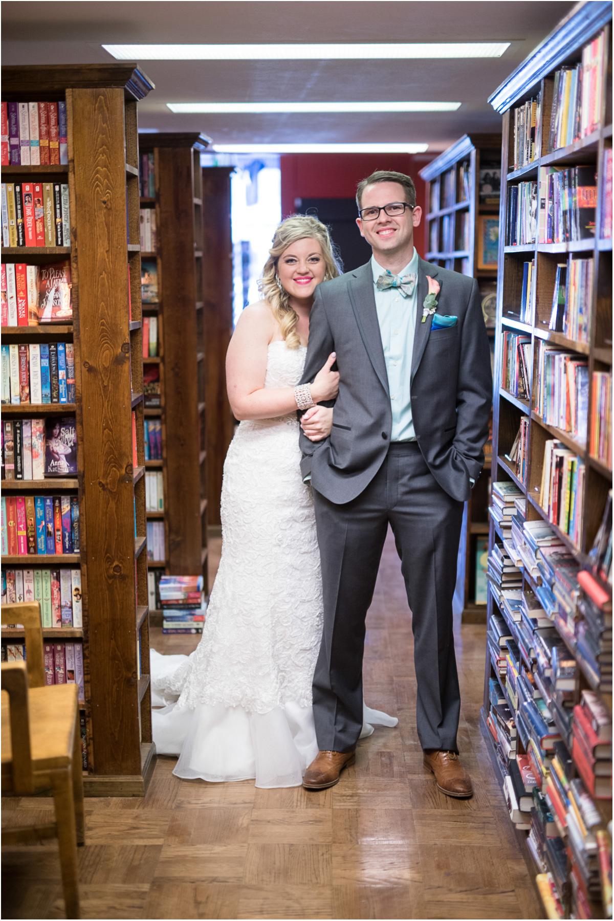 vintage wedding photos in bookstore dusty bookshelf manhattan kansas