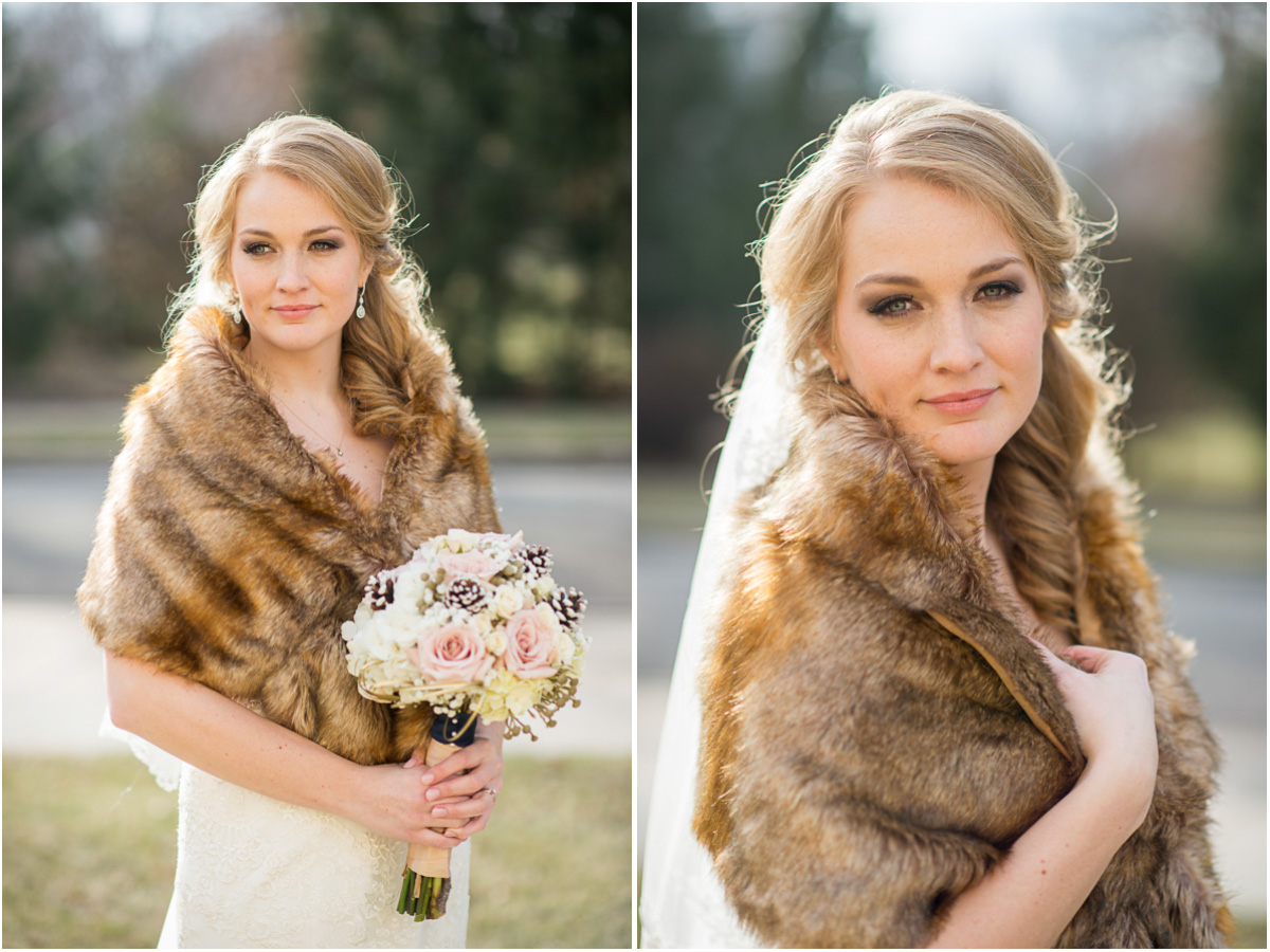 winter bride with fur wrap rustic winter wedding