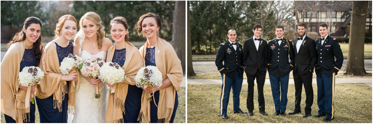 winter military wedding party