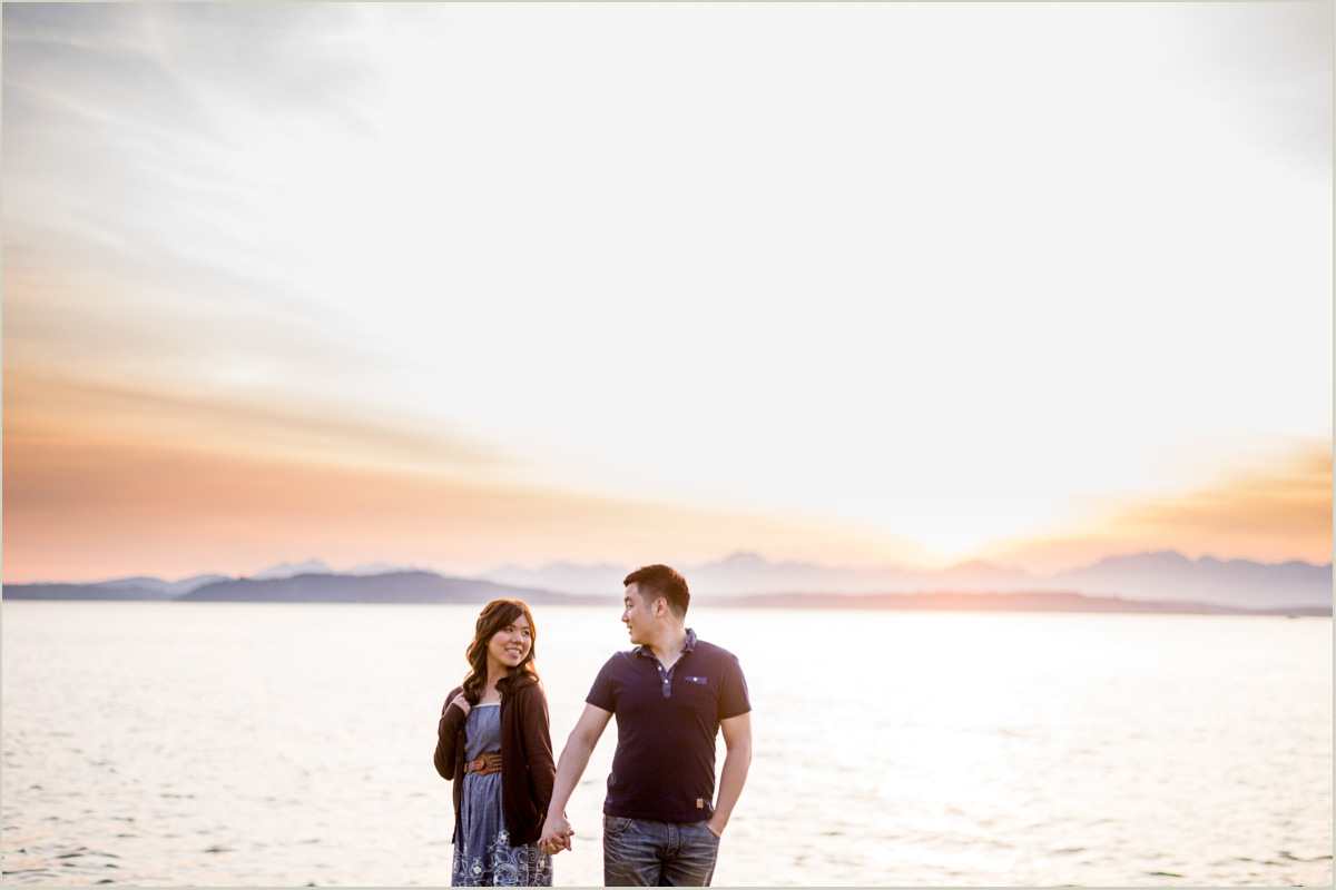 Alki Beach Sunset Seattle Wedding Photographer