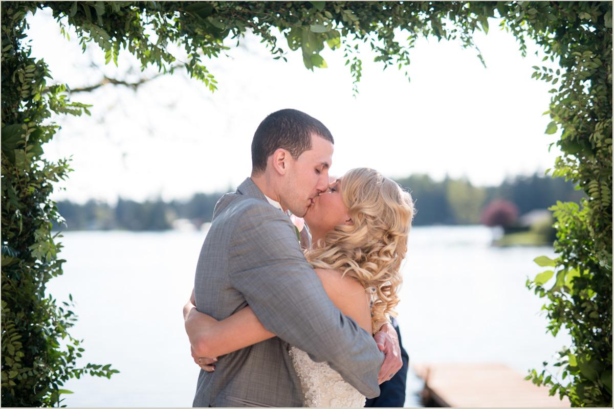 Backyard Wedding Ceremony First Kiss