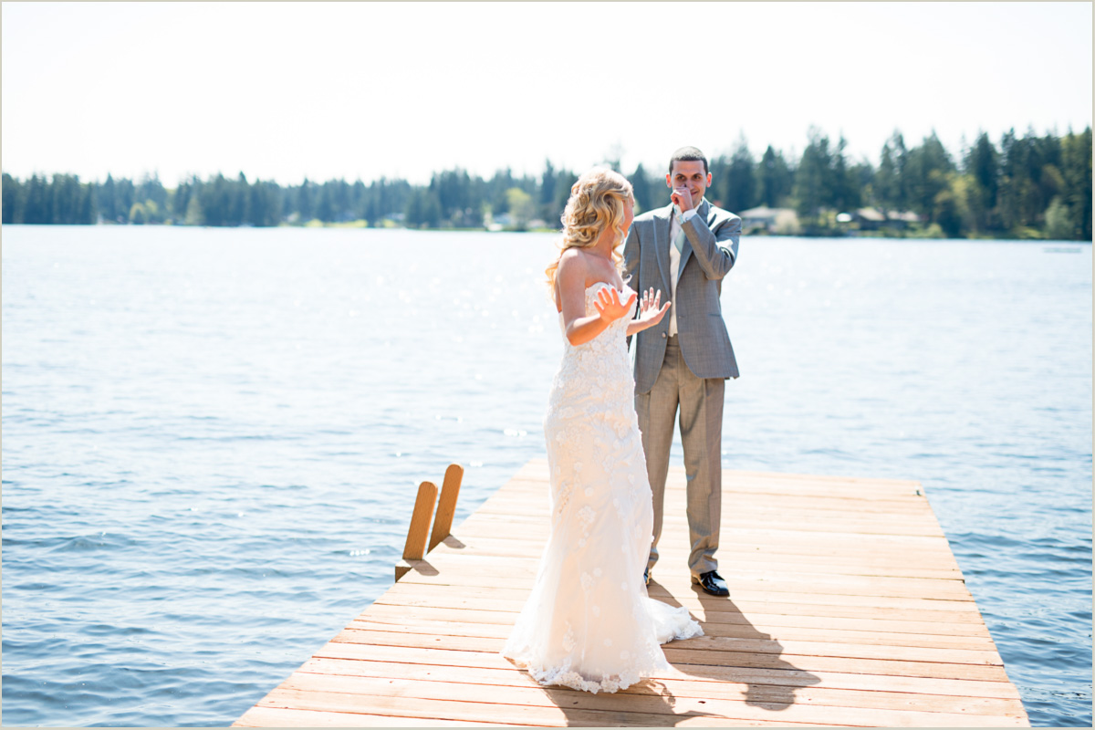 Best First Look Reactions Seattle Wedding Photographers