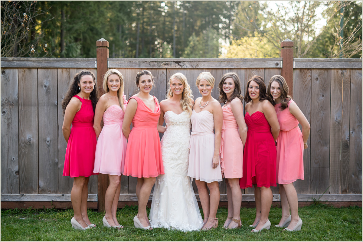 Bride and Bridesmaids Maple Valley Wedding