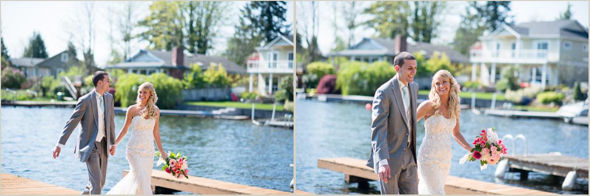 Bride and Groom Portraits Lake Sawyer Backyard Wedding
