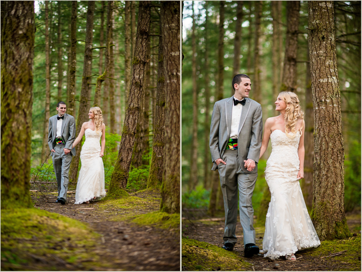 Bride and Groom Strolling through forest washington wedding photographer