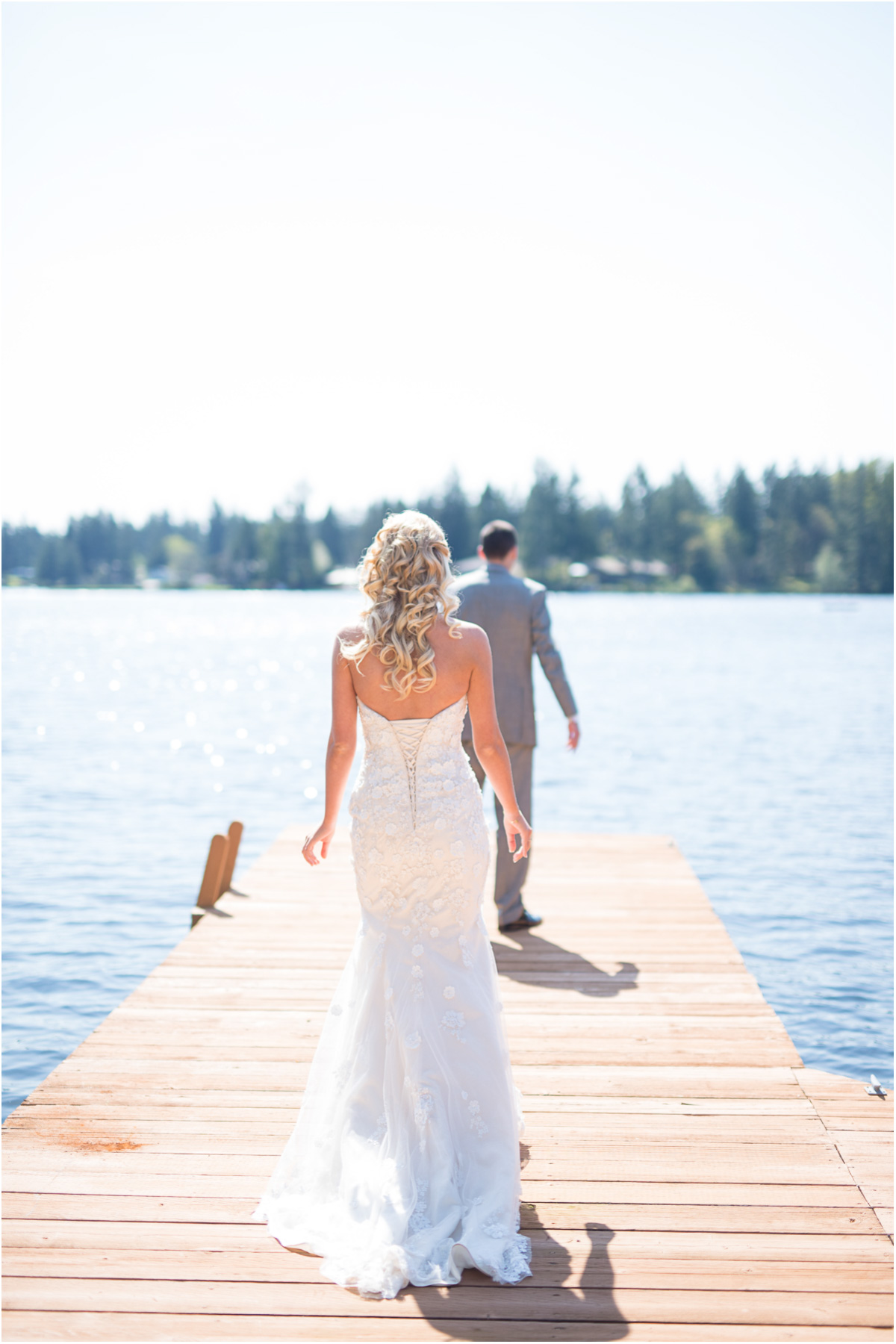 First look on dock lake sawyer wedding