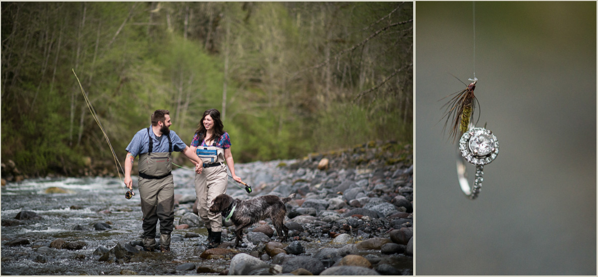 Fly Fishing Engagement Photos on Nooksack River Washington