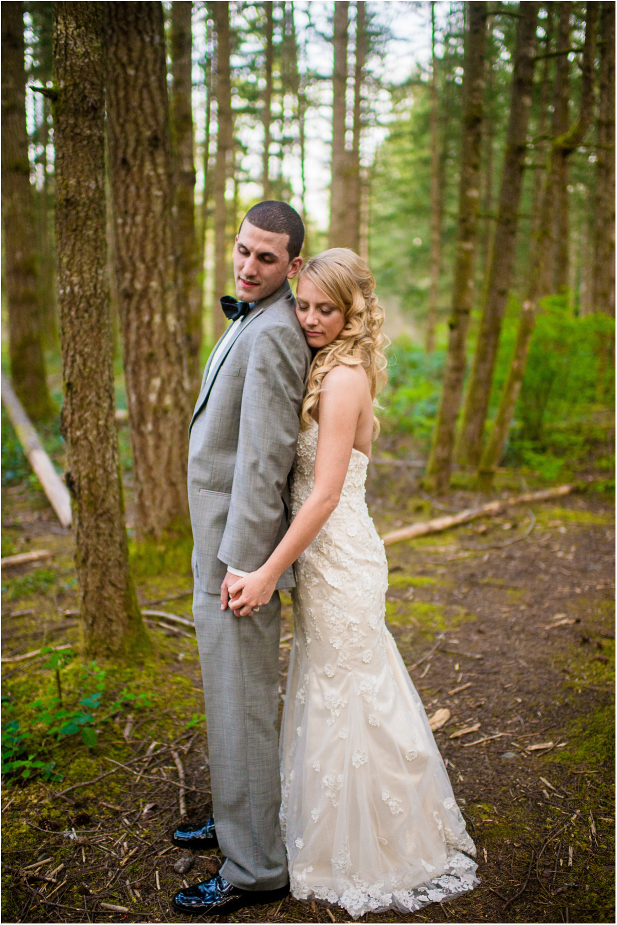 Intimate Wedding Bride and Groom Portraits in Woods