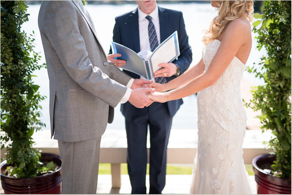Intimate lakeside wedding ceremony backyard wedding on lake sawyer