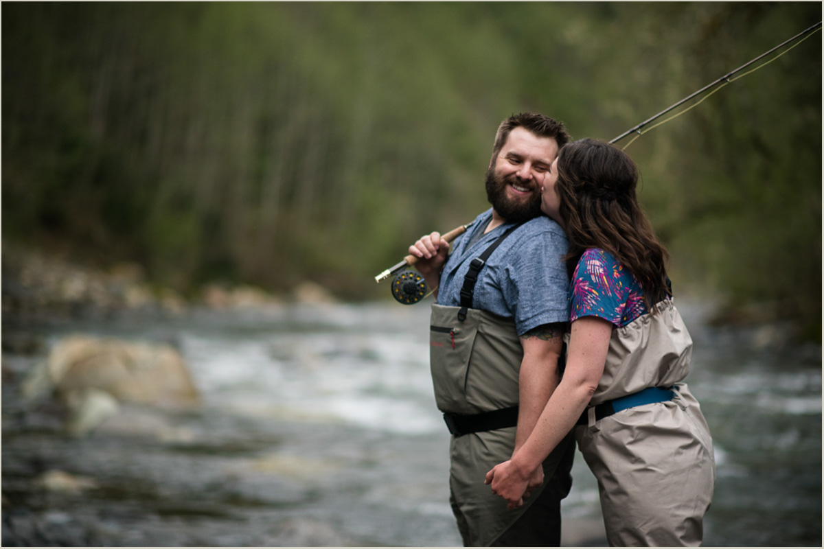 Mount Baker Highway Fly Fishing Engagement Photos
