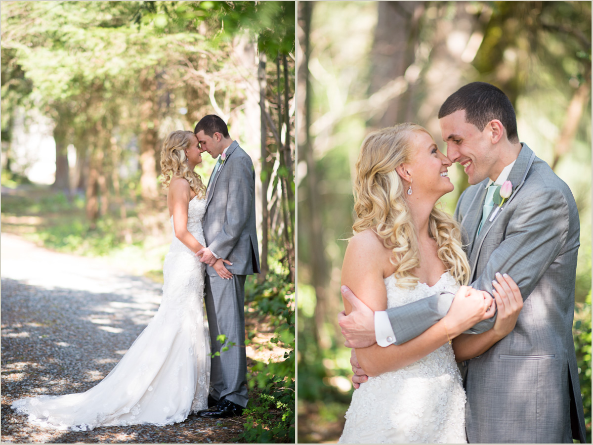 Romantic woodsy bride and groom portraits backyard washington wedding