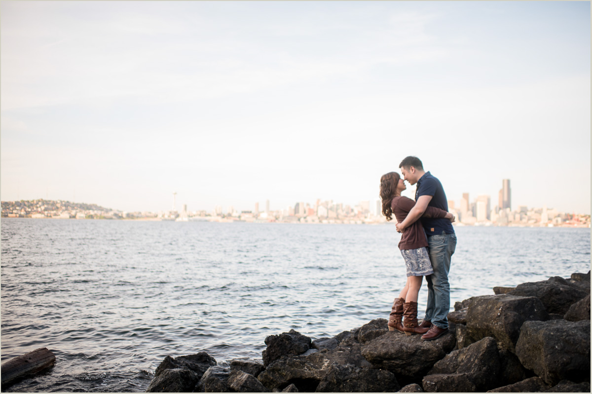 Seattle Skyline from Alki Beach Engagement Photos