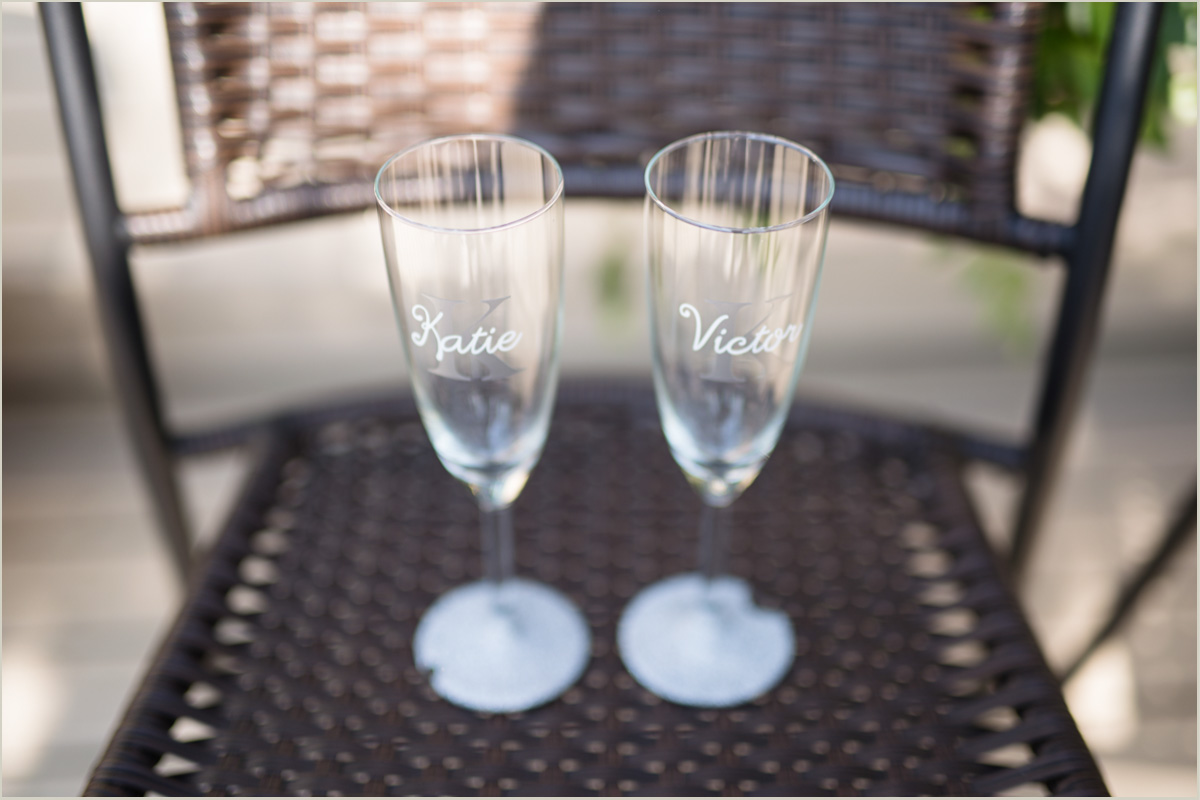 Wedding Champagne Glasses Intimate Backyard Wedding Day