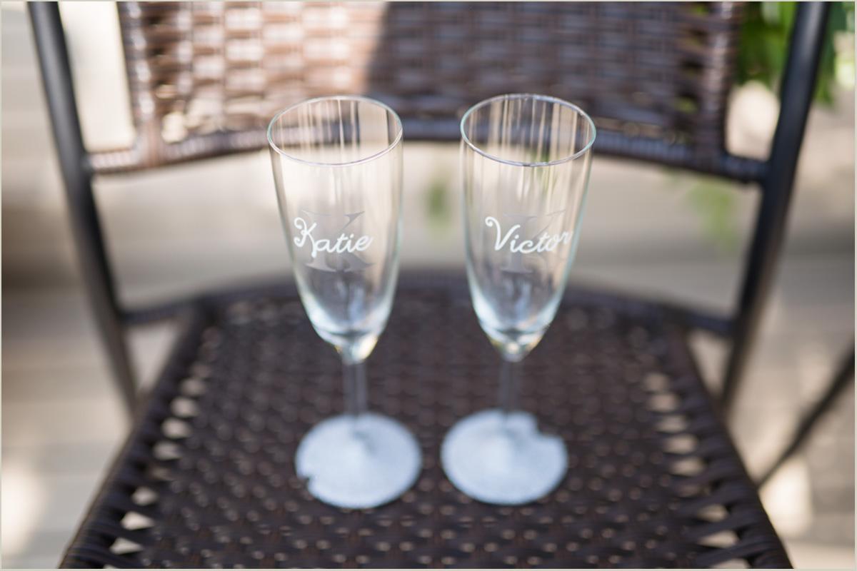 Wedding Champagne Glasses Intimate Backyard Wedding Day