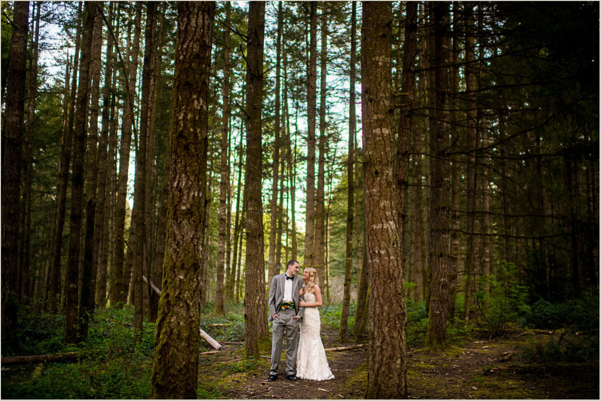 Woodsy Wedding Bride and Groom Portraits in Washington Forest