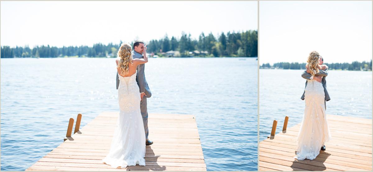 groom first look reaction backyard wedding day