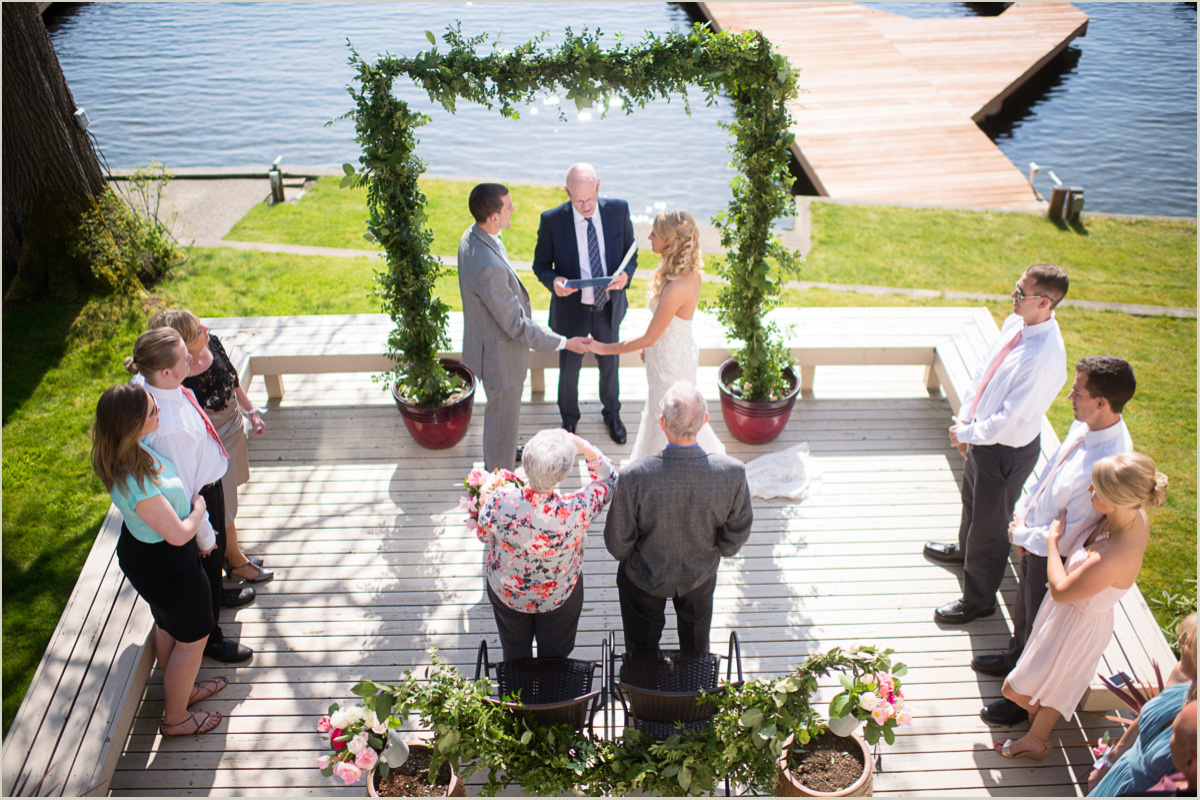 intimate backyard wedding on lake sawyer black diamond washington