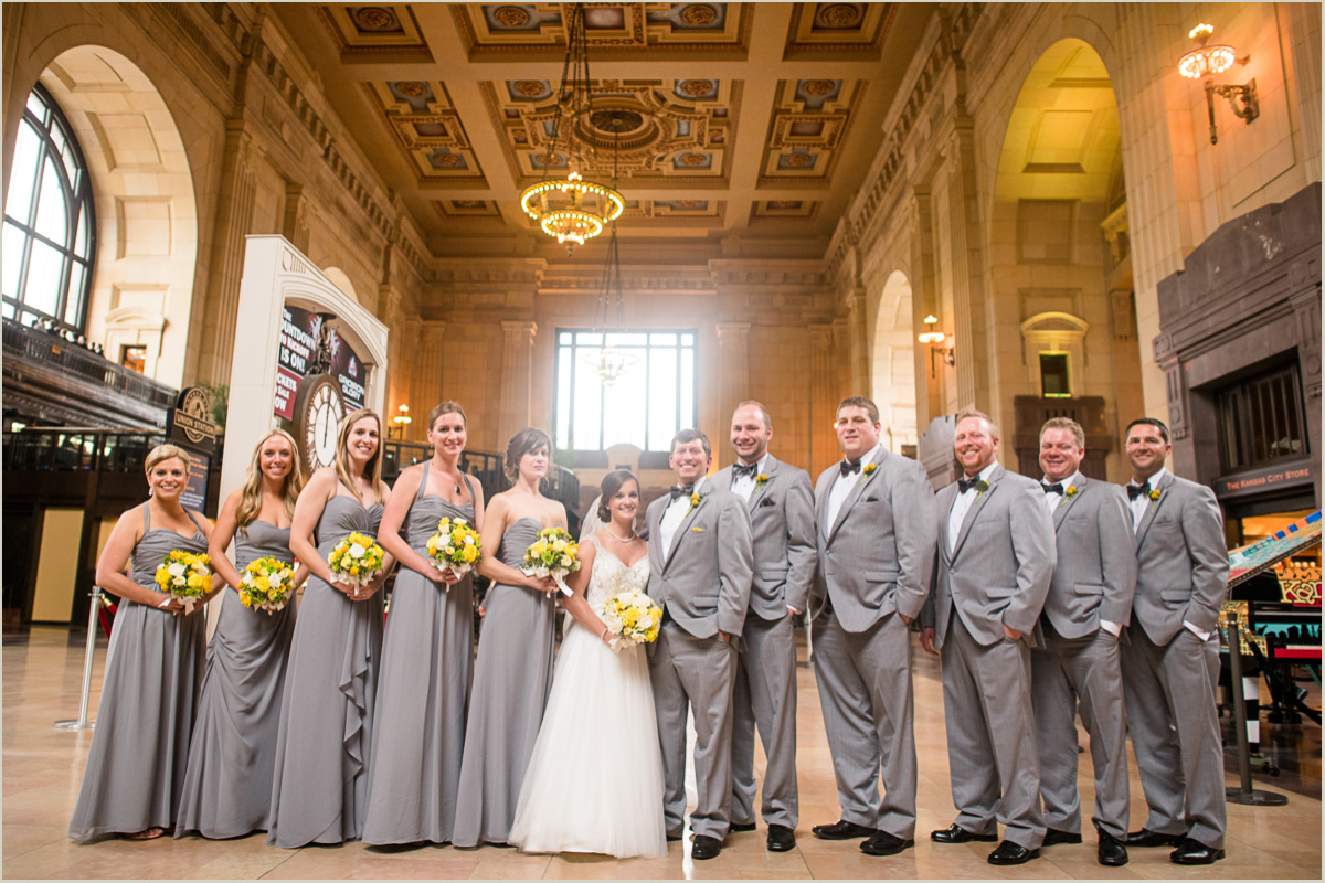 Bridal Party Photos in Union Station Kansas City Wedding