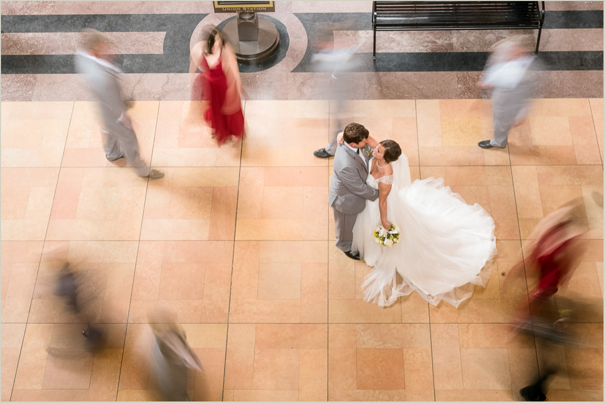 Busy Union Station Bridal Party Photo