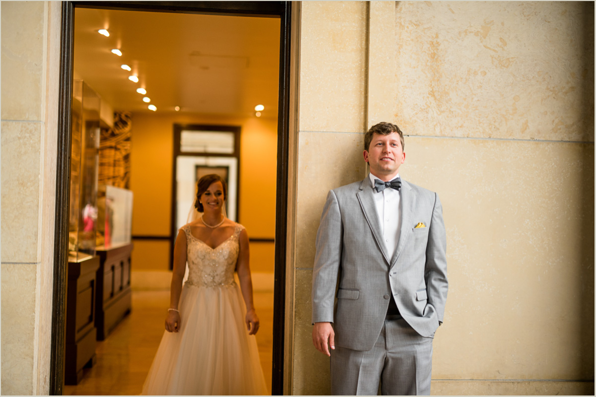 Groom waits for bride in Union Station