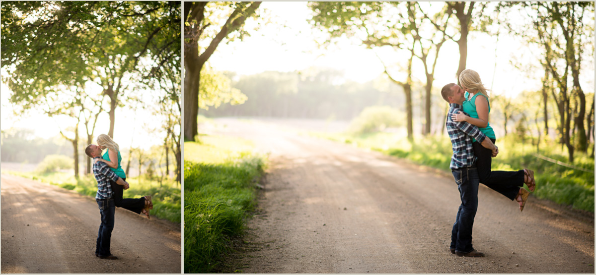 Midwest Engagement Photos on a backroad