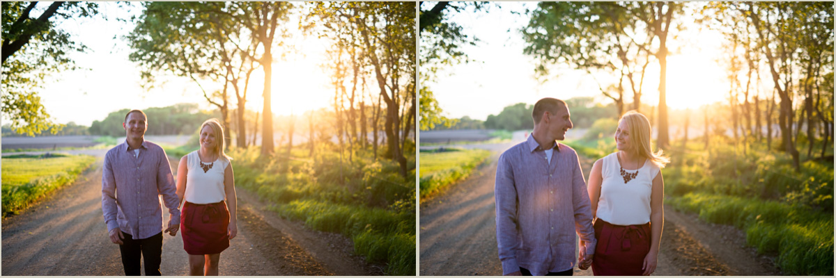 Sunset Engagement Photos on a back road in Kansas